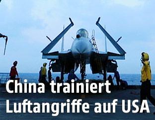 Chinesischer Kampfjet auf Flugzeugträger