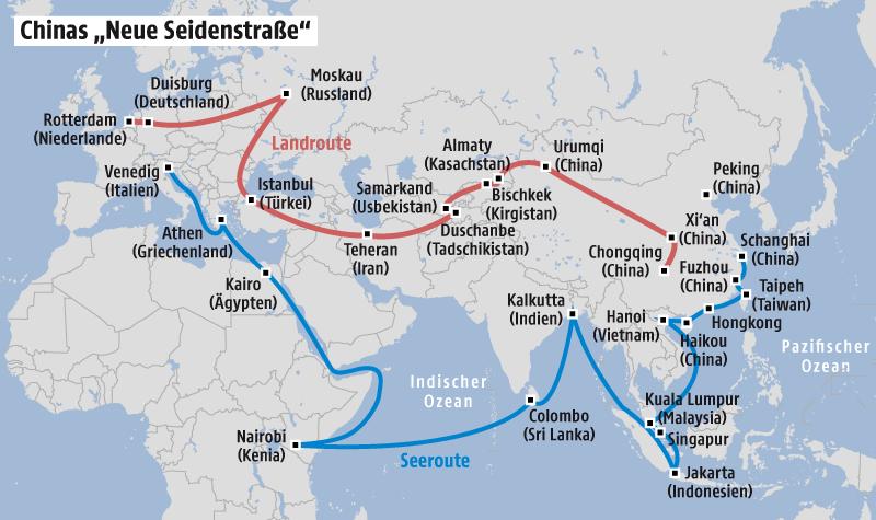 Grafik zu Chinas Seidenstraße