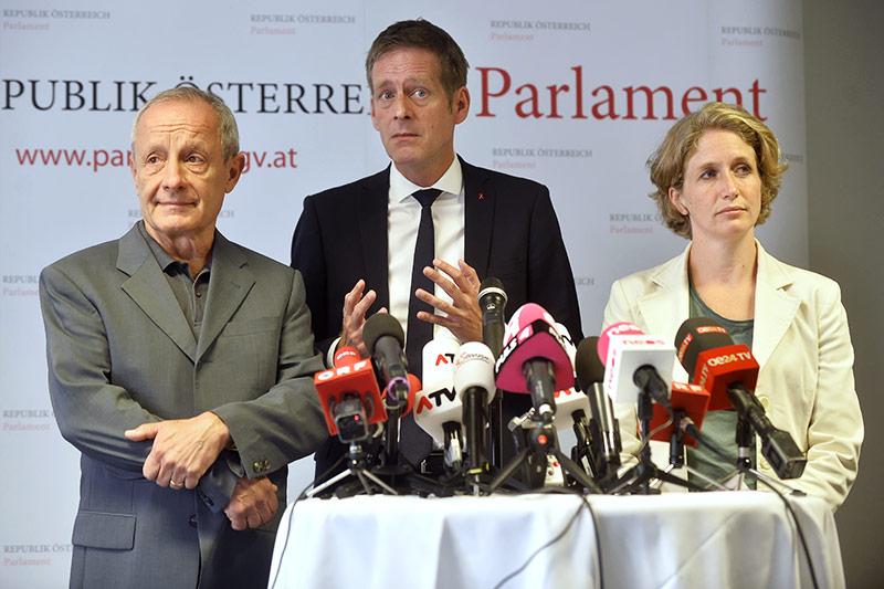 Peter Pilz (Liste Pilz), Jan Krainer (SPÖ) und Stephanie Krisper (NEOS)